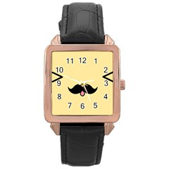 Mustache Rose Gold Leather Watch