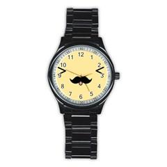 Mustache Stainless Steel Round Watch