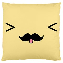 Mustache Large Flano Cushion Case (one Side)
