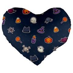 Kawaiieen Pattern Large 19  Premium Heart Shape Cushions