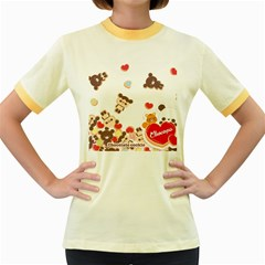 Chocopa Panda Women s Fitted Ringer T Shirts