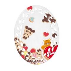 Chocopa Panda Oval Filigree Ornament (two Sides)