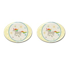 Unicorn Pattern Cufflinks (oval)