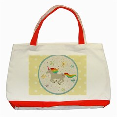 Unicorn Pattern Classic Tote Bag (Red)