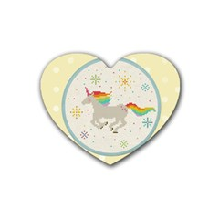 Unicorn Pattern Rubber Coaster (heart)