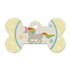 Unicorn Pattern Dog Tag Bone (two Sides)