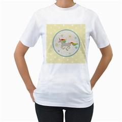 Unicorn Pattern Women s T Shirt (white)