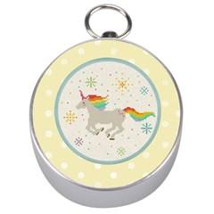 Unicorn Pattern Silver Compasses