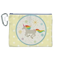 Unicorn Pattern Canvas Cosmetic Bag (xl)