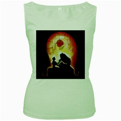 Beauty And The Beast Women s Green Tank Top