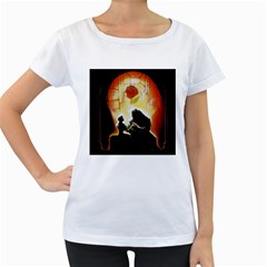 Beauty And The Beast Women s Loose-Fit T-Shirt (White)