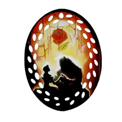 Beauty And The Beast Oval Filigree Ornament (two Sides)
