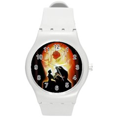 Beauty And The Beast Round Plastic Sport Watch (M)