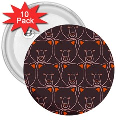 Bears Pattern 3  Buttons (10 Pack)
