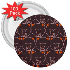 Bears Pattern 3  Buttons (100 Pack)