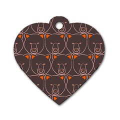 Bears Pattern Dog Tag Heart (One Side)