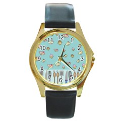 Kawaii Kitchen Border Round Gold Metal Watch