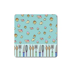 Kawaii Kitchen Border Square Magnet