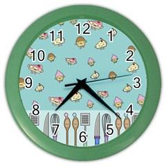 Kawaii Kitchen Border Color Wall Clocks