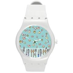 Kawaii Kitchen Border Round Plastic Sport Watch (m)