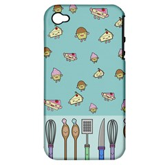 Kawaii Kitchen Border Apple Iphone 4/4s Hardshell Case (pc+silicone)