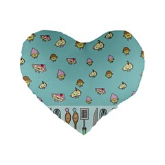 Kawaii Kitchen Border Standard 16  Premium Flano Heart Shape Cushions