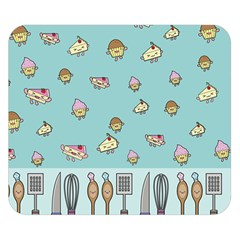 Kawaii Kitchen Border Double Sided Flano Blanket (Small)