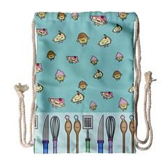Kawaii Kitchen Border Drawstring Bag (large)