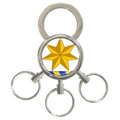 Star Yellow Blue 3-Ring Key Chains