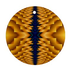 Plaid Blue Gold Wave Chevron Round Ornament (Two Sides)