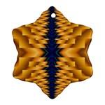 Plaid Blue Gold Wave Chevron Ornament (Snowflake) Front