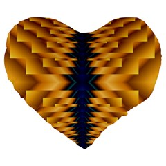 Plaid Blue Gold Wave Chevron Large 19  Premium Heart Shape Cushions