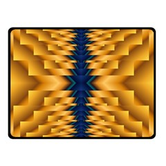 Plaid Blue Gold Wave Chevron Double Sided Fleece Blanket (small)