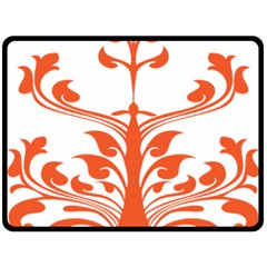 Tree Leaf Flower Orange Sexy Star Double Sided Fleece Blanket (large)