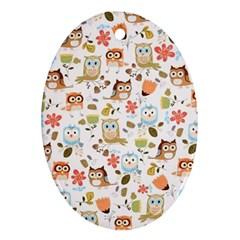 Cute Owl Ornament (Oval)