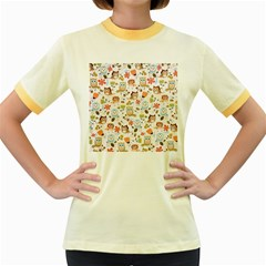 Cute Owl Women s Fitted Ringer T Shirts