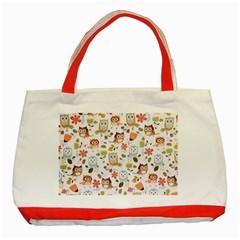Cute Owl Classic Tote Bag (red)