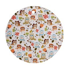 Cute Owl Round Ornament (two Sides)
