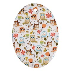 Cute Owl Oval Ornament (two Sides)