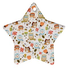Cute Owl Star Ornament (Two Sides)