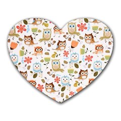Cute Owl Heart Mousepads