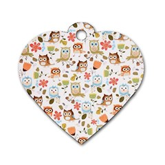 Cute Owl Dog Tag Heart (two Sides)