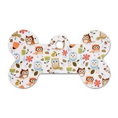 Cute Owl Dog Tag Bone (Two Sides)