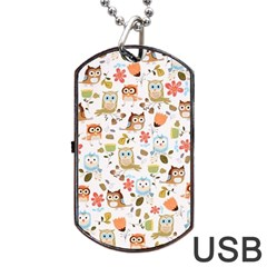 Cute Owl Dog Tag USB Flash (One Side)