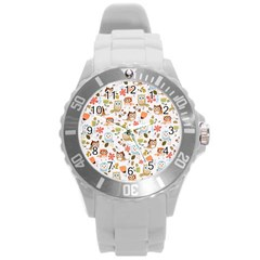 Cute Owl Round Plastic Sport Watch (L)