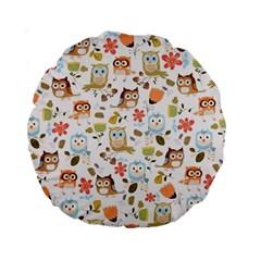 Cute Owl Standard 15  Premium Round Cushions