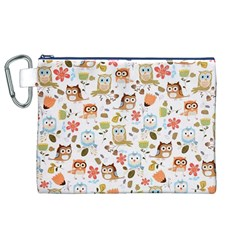 Cute Owl Canvas Cosmetic Bag (xl)