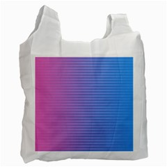 Turquoise Pink Stripe Light Blue Recycle Bag (One Side)