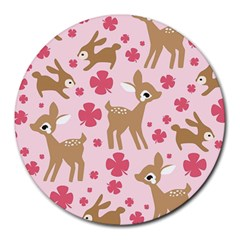Preety Deer Cute Round Mousepads