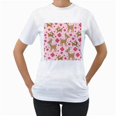 Preety Deer Cute Women s T-Shirt (White) (Two Sided)